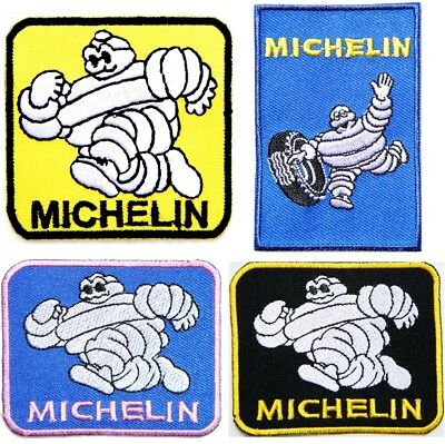 9991 White Running Michelin Man Iron On Patch Tires Novelty Car Truck Icon Logo