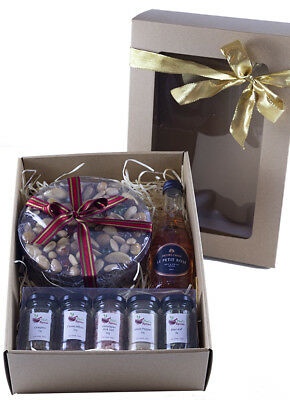 Christmas Appreciation Hamper - Spices, Cake & Wine in box with display window