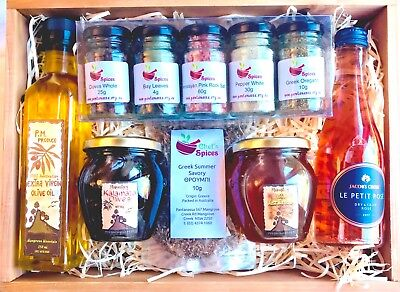 Monastery Produce Hamper - Spices, Oil, Honey, Wine & Olives in a wooden tray