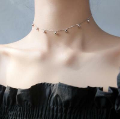 925 Sterling Silver Plain Balls Choker Necklace A2669