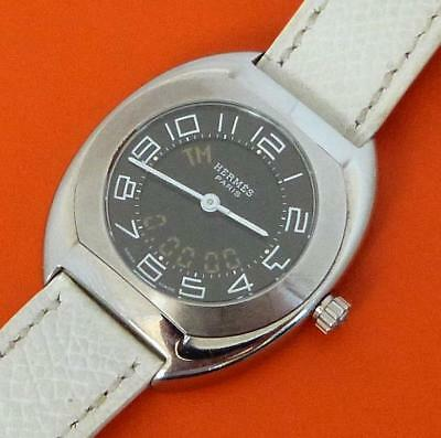 Authentic Ladies Hermes Espace Analog Digital Watch. ES1.210 White Leather Band
