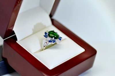 Rare Real.925 Sterling Silver Green Oval Cut Diamond engagement Rings