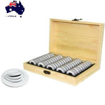 50Pcs 18/21/25/27mm Wooden Round Cases Coin Storage Holder Display Container