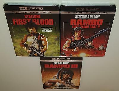 Rambo 1 2 & 3 Trilogy Brand New Sealed 4K Ultra Hd Bluray Sylvester Stallone