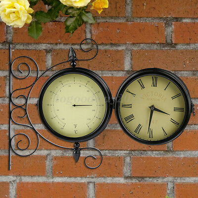 Uk Garden Wall Clock Thermometer Double Side Retro Metal Outdoor Patio  Ornament