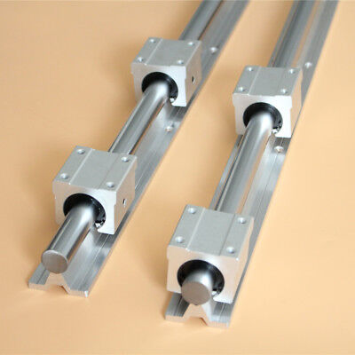 2× SBR20-1500mm Fully Supported Linear Rail Shaft Rod + 4× SBR20UU Block Bearing