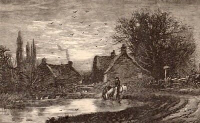 Antique Victorian Art print engraving 1876 An Evening in June Horse man village