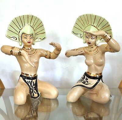 Set of 2 Extraordinary Siamese or Balinese Vintage California Pottery Figurines