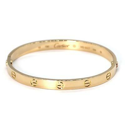 Cartier Love 18k Yellow Gold Screw Motif Bangle Size 18 Screwdriver & Cert