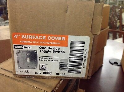 RACO 800C 4in Surface Cover One Device Toggle Switch Box of 10