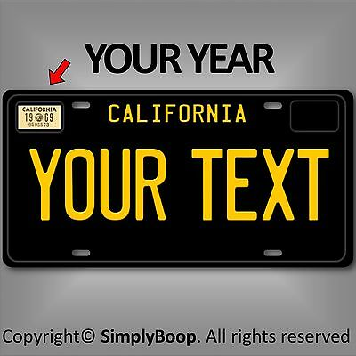 Black California ANY TEXT Your Personalized Text Aluminum License Plate Tag New