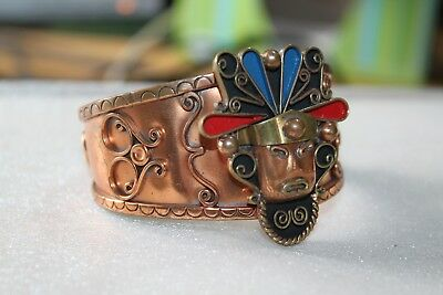 Aztec Mayan 1950 s Fifties Mexican Copper & Enamel Cuff Bracelet Old Mexico 9""