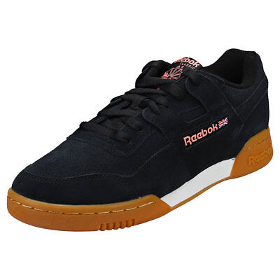 Reebok Workout Plus Mu Mens Black Pink Suede Trainers 1a41d1210