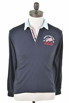 NORTH SAILS Boys Rugby Polo Shirt Long Sleeve 11-12 Years Navy Blue Cotton  DL08