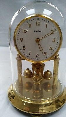Vintage Bentima Brass Wind Up Anniversary Clock Glass Dome Western Germany