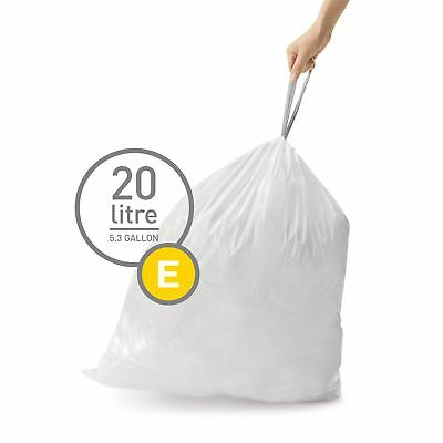 simplehuman Code Size E - Custom Fit Waste Bin Liners Bags - 20 Litres - 20 Pack