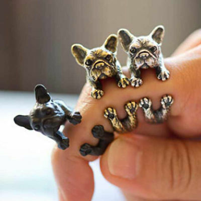 Animal Vintage Retro Dog Wrap Around Ring Pug French Bulldog Daschund Hot Sale