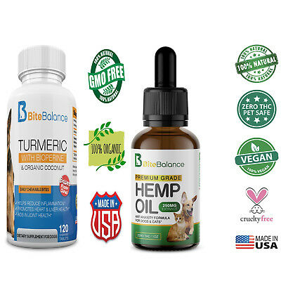 Hemp Oil / Turmeric for Dogs and Cats - Pet USA - Organic Anxiety and Pain Combo