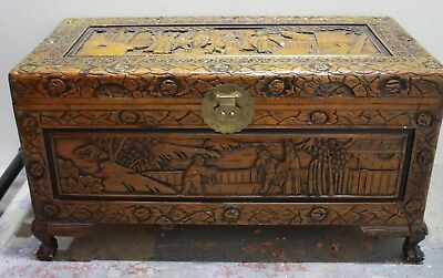 Large Vintage ORIENTAL Chinese Carved Camphor Wooden Chest, Storage Box - 250