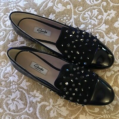 b6dbf5b0474b4d CLARKS LADIES SHOES size 6 Black Leather Studs Sparkle Loafers Flat ...