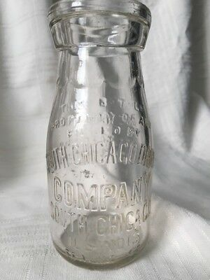 Vintage Half Pint Milk Bottle South Chicago Dairy Company Illinois  1927