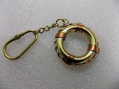 Solid Brass Life Ring Keychain Nautical Buoy Maritime Key Ring Gift Decorative