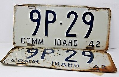 1942 IDAHO License Plate Collectible Antique Vintage 9P-29 Matching Set Pair
