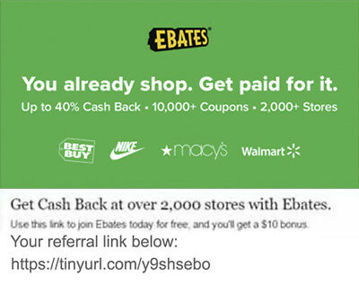 Join Ebates and Earn Free Cash $17 USD Cash Bonus