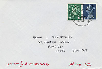 """2469 1972 Wilding 1 1/2 D and Machin 5 D on superb LAST DAY Cover!!! """"ROYSTON"""""""