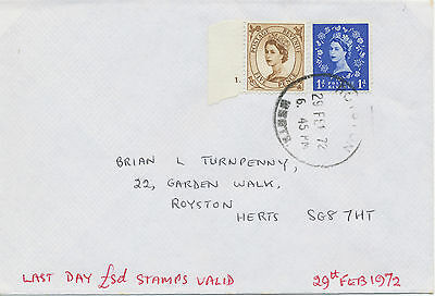 2469 29.2.1972 Wilding 1 D and 5 D (with Cyl.-Nr. 1 dot) superb Last Day Cover