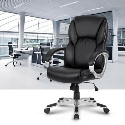 Modern Executive Ergonomic Office Chair Mid-Back PU Leather Recliner 360 Degree