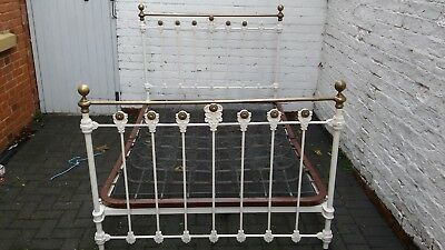 Antique Victorian Brass and cast iron double bed with original sprung base.