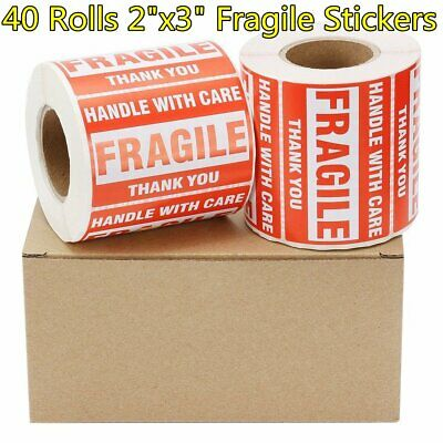 "40 Rolls 2""x3"" Fragile Stickers Handle with Care Shipping Mailing Label 500/Roll"