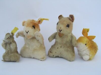 Steiff 4 Nagetiere im Set, 2x Goldy Hamster, Pieps-Maus 4308, Woll-Hase 7144/06
