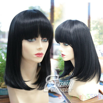 Synthetic Bob Wig Short Straight Black Wig With Bangs Women African
