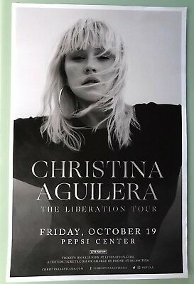 "Christina Aguilera 11"" X 17"" Pepsi Center Concert Poster Denver, CO Liberation"