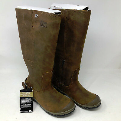 fa1eb88a2ba SOREL SLIMBOOT WOMENS Brown Leather/suede Ankle Zip Winter Boots Sz ...