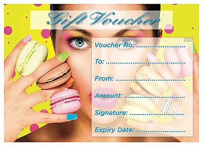 Blank Salon gift Voucher Card Beauty/Nail Salons/Nail Technicians x 15+envelopes