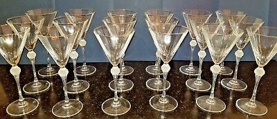 18 pcs. crystal stemware glasses, czech republic