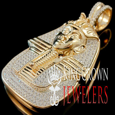 "Egyptian Pharaoh King Tut Pendant 10K Rose Gold Over Silver Diamond 2.50"" Charm"
