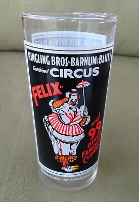 Felix & 99 Other Famous Clowns Ringling Bros. Barnum & Bailey 1975 Pepsi Glass