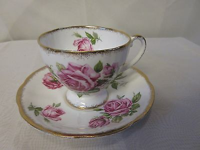 "Royal Standard Fine Bone China England  'Orleans Rose"" Teacup & Saucer"