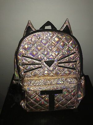Justice Shimmer Backpack Gold Cat Quilted Initial Letter T Full Size Holo!