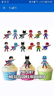 PRE-CUT Superhero Edible Cup cake Toppers Decorations Boys Birthday (Pack of 36)