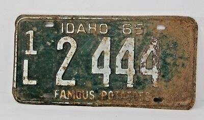 1965 IDAHO License Plate Collectible Antique Vintage 1L 2-444 Famous Potatoes