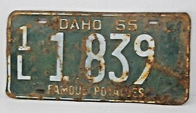 1965 IDAHO License Plate Collectible Antique Vintage 1L 1-839 Famous Potatoes