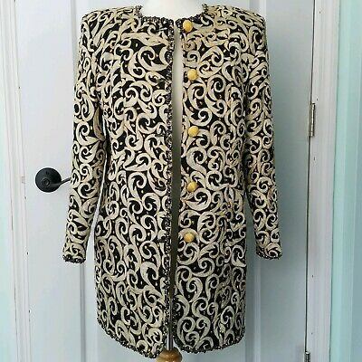 Black & Gold Brocade Coat Embroidered Beads Sequins Jacket Evening Size 6