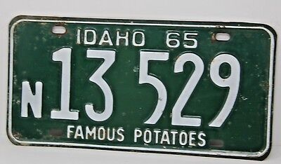 1965 IDAHO License Plate Collectible Antique Vintage N 13-529 Famous Potatoes