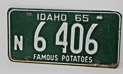 1965 IDAHO License Plate Collectible Antique Vintage N 6-406 Famous Potatoes