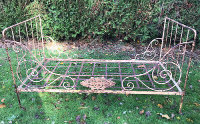 Wonderful French Antique Wrought  Iron Folding Daybed - Starburst Plaque